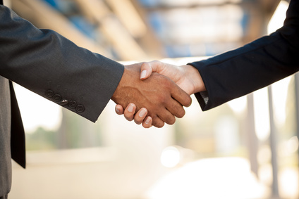 Shaking hands creates a connection and helps build trust.